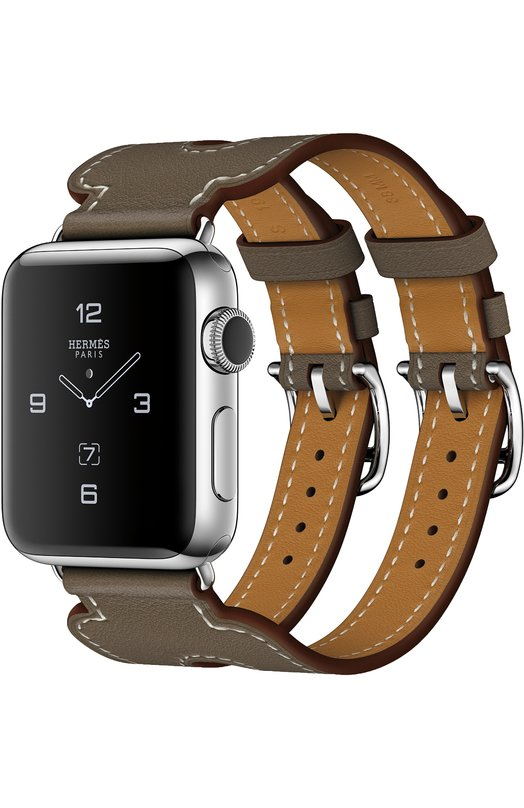 Apple Watch Herms Series 2 38mm Stainless Steel Case с кожаным ремешком Manchette цвета toupe с двойной пряжкой MNQ72RU/A