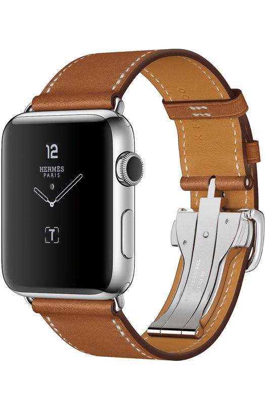Apple Watch Herms Series 2 42mm Stainless Steel Case с кожаным ремешком Simple Tour цвета Fauve с раскладывающейся застёжкой MNQ32RU