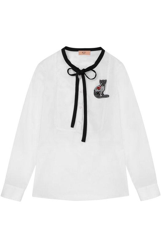 Блуза из хлопка с брошью No. 21 26 X/K505/8640/34-42