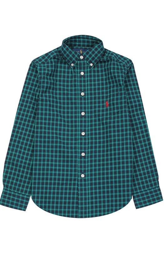Хлопковая рубашка с воротником button down Polo Ralph Lauren B04/XZ1K2/XY1K2