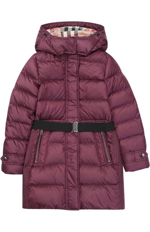 Пуховое пальто с поясом и капюшоном Burberry 4030144