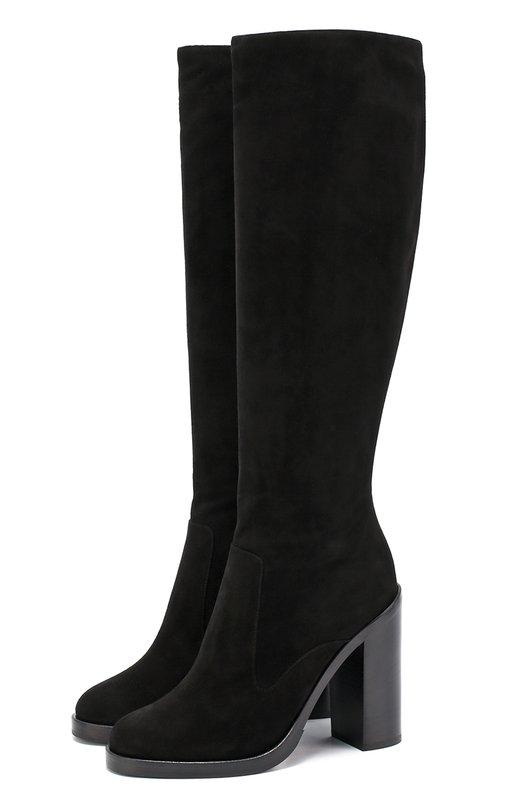 Купить Замшевые сапоги Lawrence на устойчивом каблуке Dolce & Gabbana, 0112/CU0257/A1275, Италия, Черный, Стелька-кожа: 100%; Подошва-кожа: 100%; Подошва-резина: 100%; Замша натуральная: 100%;