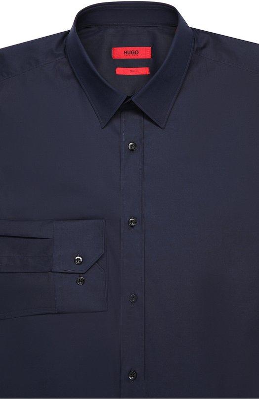 Хлопковая приталенная сорочка с воротником кент HUGO 50289618