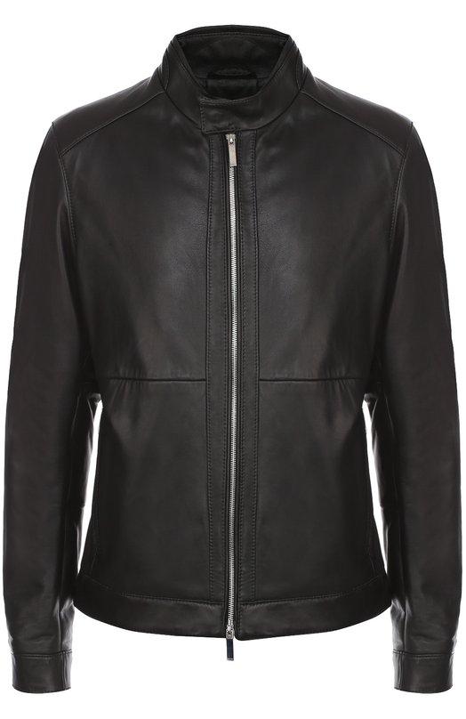 Кожаная куртка на молнии с воротником-стойкой BOSS 50326387
