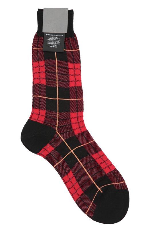 Хлопковые носки в клетку Alexander McQueen 430255/4798Q