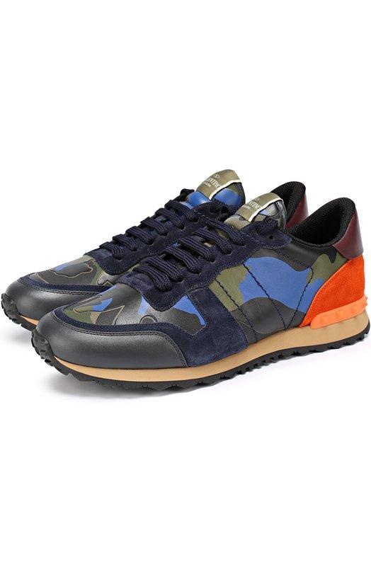 Комбинированные кроссовки Rockrunner с камуфляжным принтом Valentino LY0S0723/TCC