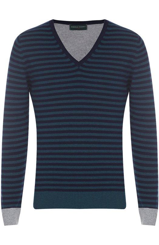 Пуловер из смеси шерсти и кашемира с контрастной отделкой Daniele Fiesoli 5030