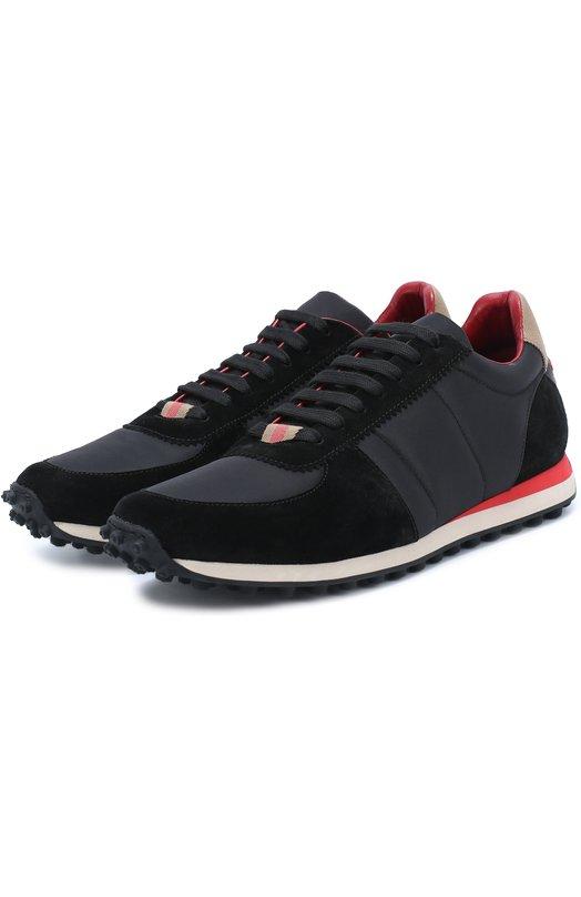 Текстильные кроссовки с отделкой из натуральной замши Burberry 4038168