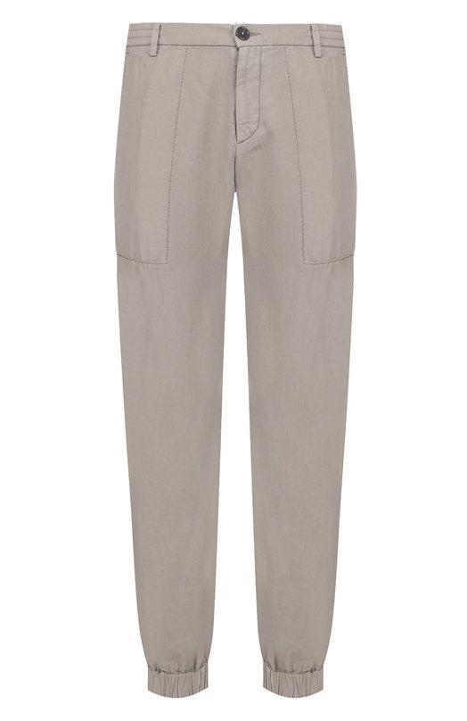 Спортивные брюки из смеси хлопка и льна с манжетами Z Zegna VM125ZZ344