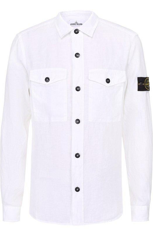 Льняная рубашка с воротником кент Stone Island 661510501