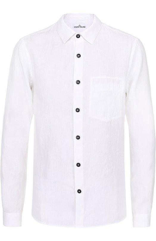 Льняная рубашка с воротником кент Stone Island 661510901