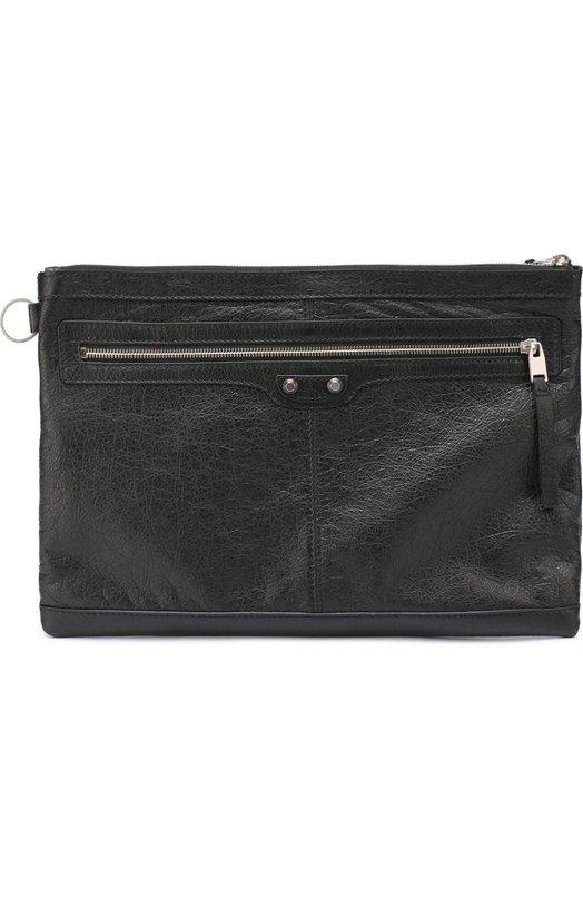 Кожаная папка для бумаг с внешним карманом на молнии Balenciaga 273023/D9H04