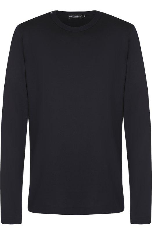 Купить Хлопковый лонгслив с круглым вырезом Dolce & Gabbana, 0101/G8GX6T/FU7EQ, Италия, Синий, Хлопок: 100%;