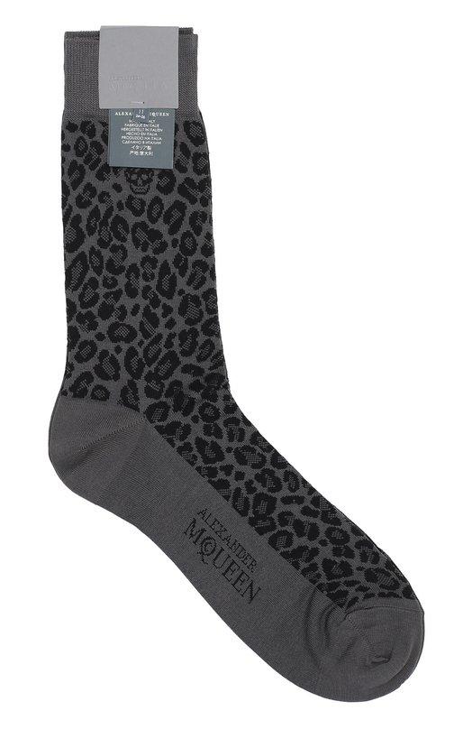Хлопковые носки с анималистичным узором Alexander McQueen 460005/4839Q