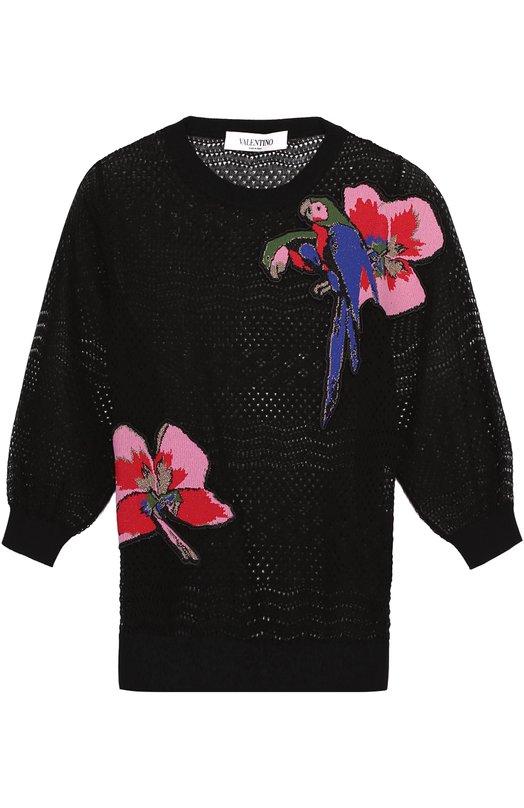 Полупрозрачный укороченный пуловер с контрастной отделкой Valentino MB3KC21R/349