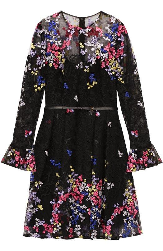 Приталенное мини-платье с контрастной цветочной вышивкой Elie Saab 8390