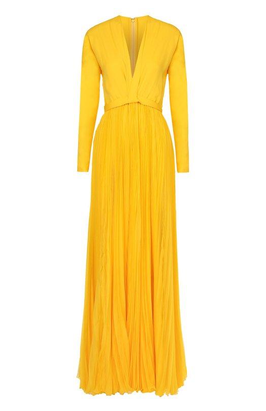 Шелковое платье-макси с плиссированной юбкой и высоким разрезом Dsquared2 S75CU0414/S40249