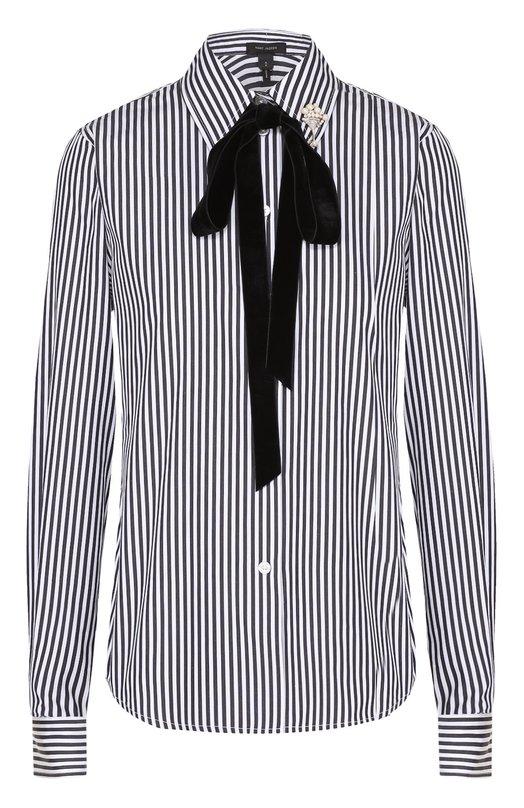Хлопковая блуза в полоску с бархатным воротником аскот Marc Jacobs W51628693