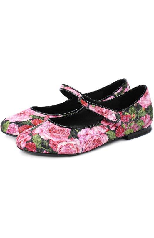 Текстильные балетки с цветочным принтом Dolce & Gabbana 0132/D10538/AS077/29-36