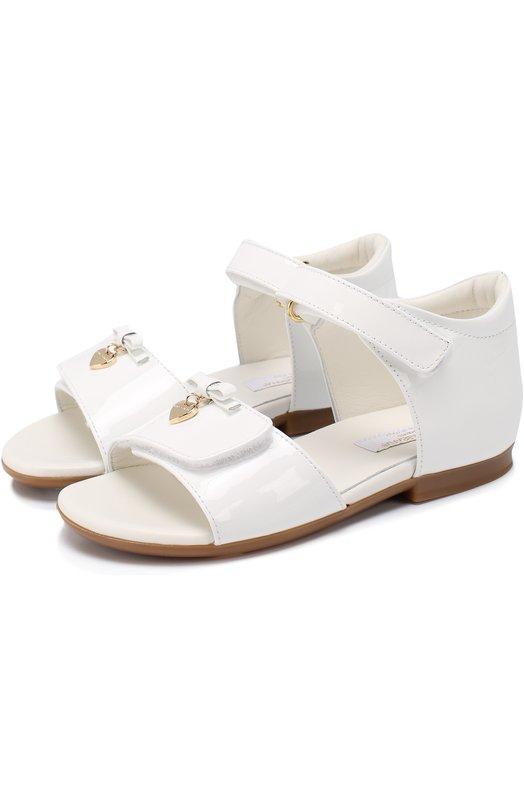 Лаковые босоножки с бантом и подвеской Dolce & Gabbana 0132/D20045/A1328