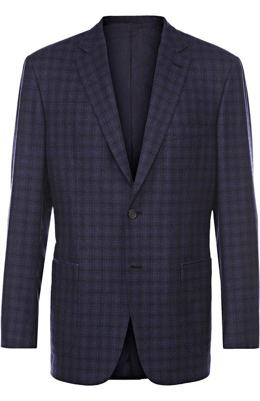 Шерстяной однобортный пиджак в клетку Brioni RG04/05A2A/DRESS-AGE/2