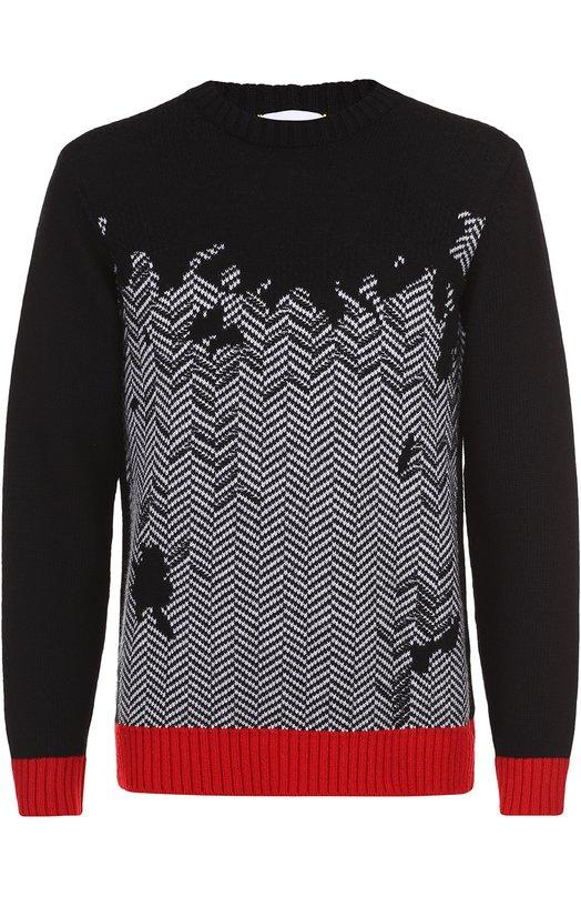 Шерстяной свитер с узором и контрастной отделкой Iceberg I3MA024/7077