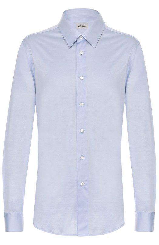 Купить Хлопковая рубашка с воротником кент Brioni, UJ5Z/PZ600, Италия, Светло-голубой, Хлопок: 100%;