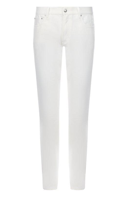 Джинсы прямого кроя с контрастной вышивкой Alexander McQueen 452988/QIZ90