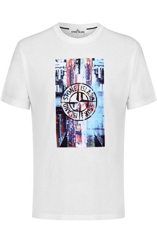 Хлопковая футболка с контрастным принтом Stone Island 66152NS80