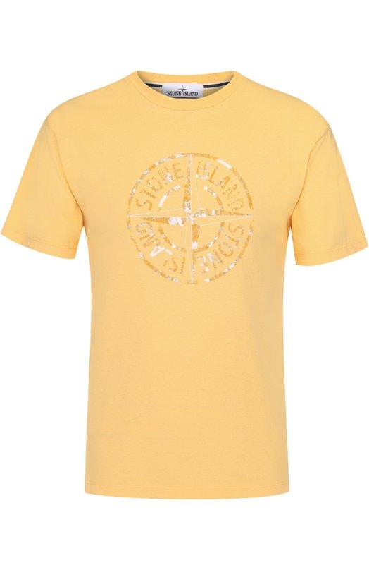 Хлопковая футболка с принтом Stone Island 66152NS87