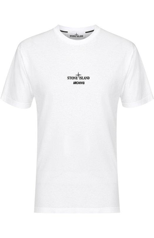 Хлопковая футболка с принтом Stone Island 66152NS90