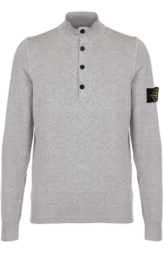 Хлопковый свитер тонкой вязки с воротником-стойкой Stone Island 6615565B2