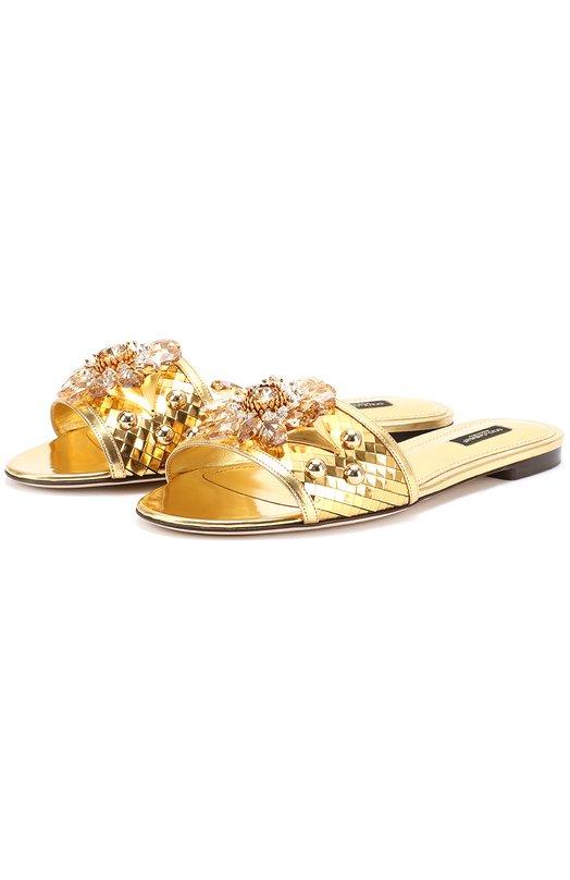 Шлепанцы Bianca из металлизированной кожи с кристаллами Dolce & Gabbana 0112/CQ0128/AB586
