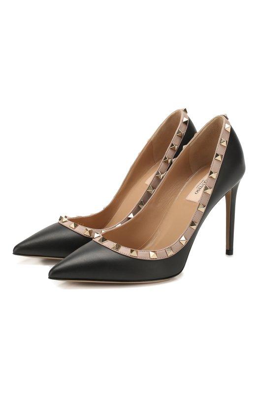 Купить Кожаные туфли Rockstud на шпильке Valentino Италия 5119408 ZW2S0057/V0D