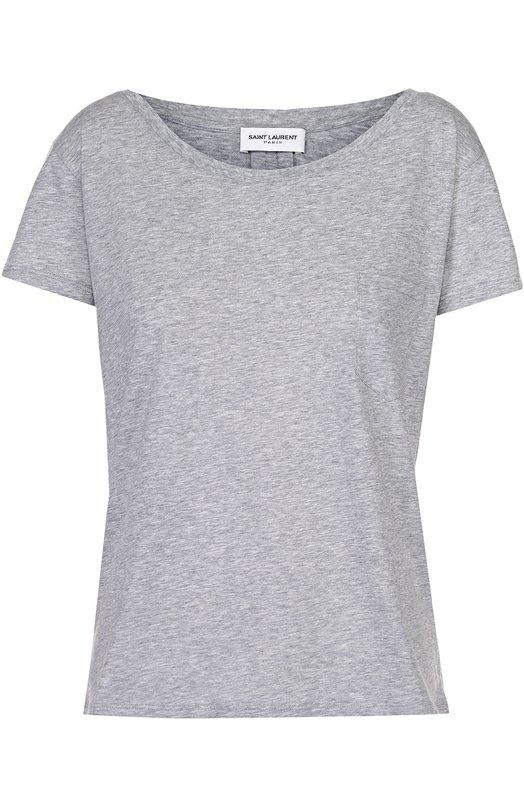 Хлопковая футболка прямого кроя с накладным карманом Saint Laurent 394316/YB2CI