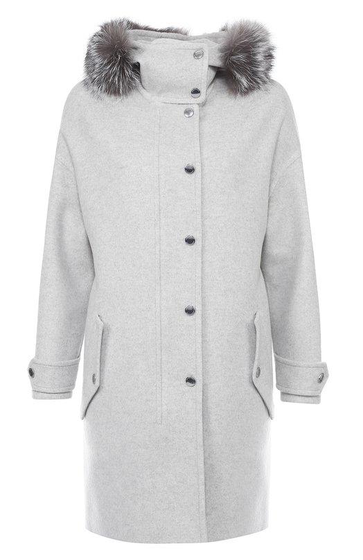 Шерстяное пальто прямого кроя с меховой отделкой капюшона Burberry 4027273