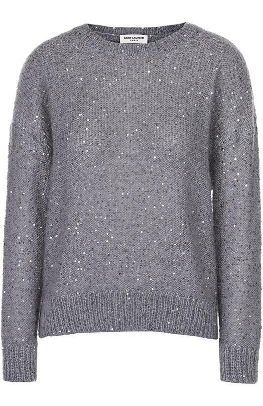 Пуловер прямого кроя с круглым вырезом и пайетками Saint Laurent 382501/Y1ZQ2