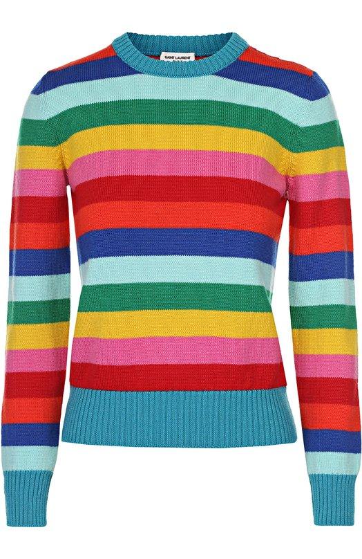 Пуловер в контрастную полоску с круглым вырезом Saint Laurent 453723/YA2FU