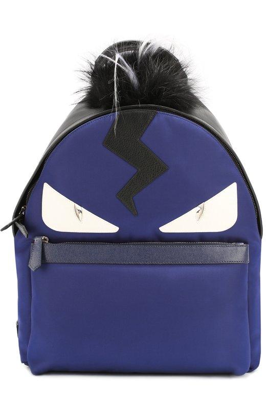 Рюкзак с аппликацией Bag Bugs и меховой отделкой Fendi 7VZ012/8FM