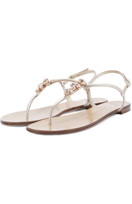 Кожаные сандалии с кристаллами Giuseppe Zanotti Design E70066003/GZ010