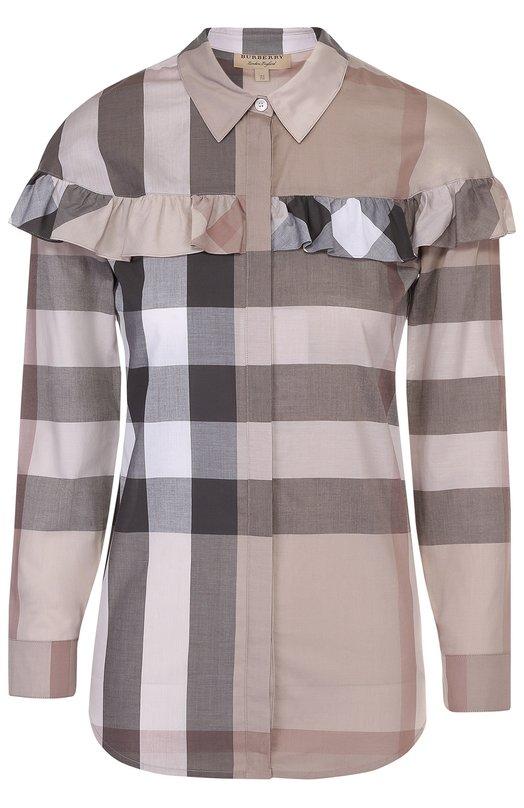 Блуза прямого кроя в клетку с оборкой Burberry 4043740