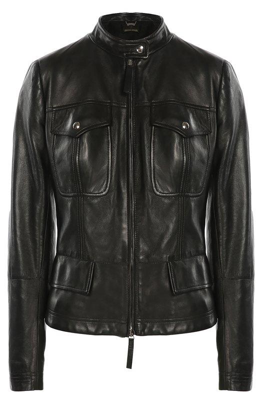 Кожаная куртка с накладными карманами и декоративной шнуровкой Roberto Cavalli DKP805/PG001