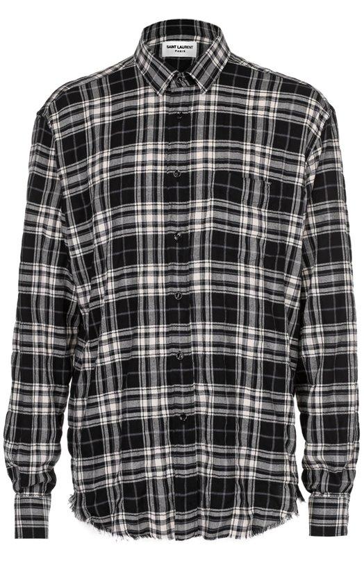 Хлопковая рубашка свободного кроя с необработанным краем Saint Laurent 411620/Y018P