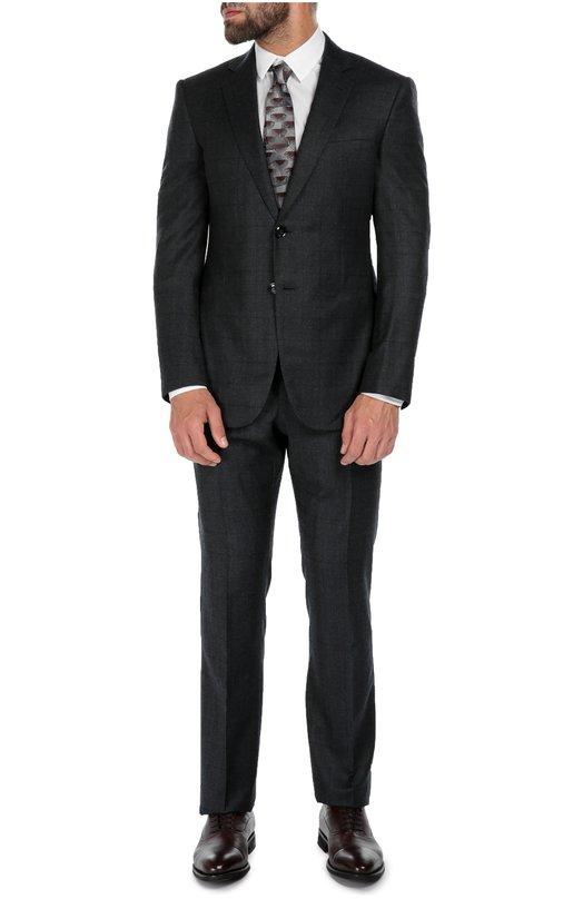 Шерстяной приталенный костюм в клетку Giorgio Armani