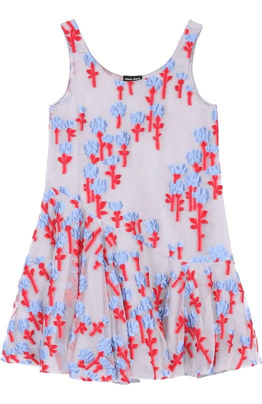 Мини-платье свободного кроя с цветочной отделкой Giorgio Armani VAA11T/VA808