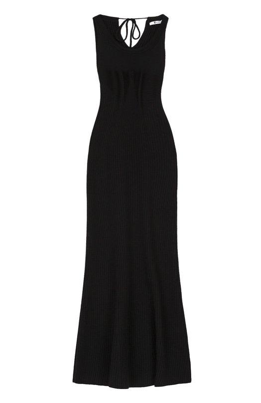 Купить Платье-миди фактурной вязки без рукавов T by Alexander Wang, 402402R17, Китай, Черный, Шерсть меринос: 100%;