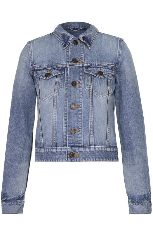 Укороченная джинсовая куртка с вышивкой на спинке Saint Laurent 454866/Y896M