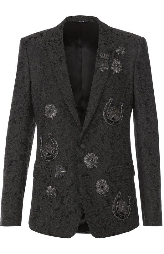 Однобортный приталенный пиджак с вышивкой Dolce & Gabbana 0101/G2IP5Z/FJRCF