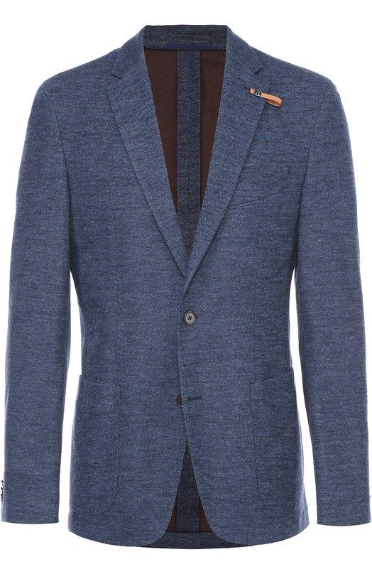 Однобортный приталенный пиджак из смеси хлопка и шерсти Baldessarini 14681/7156