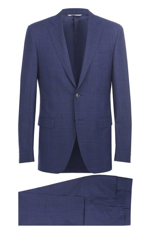 Шерстяной приталенный костюм с пиджаком на двух пуговицах Canali BF01048/19220/93